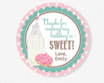 Milk and Cookies Favor Tags, Cookie Party Favors, Milk and Cookies Party Tags, Girl Birthday Favor Tags, Personalized