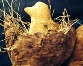 Primitive Easter Chick in egg hanger