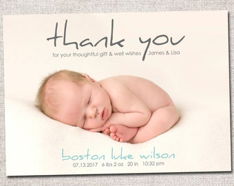 Birth announcement, baby boy announcement, baby announcement, thank you card, printable, girl birth announcement thank you card