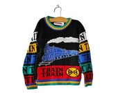 BLOWOUT 40% off sale Vintage 90s Train Sweater - Black Primary Colors, Barrel, Kids Size 5 6 - Made in America