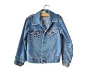 BLOWOUT 40% off sale Vintage 80s Little Levi's Jean Jacket - Boy Girl Kids Children Size 5 - Orange Tab