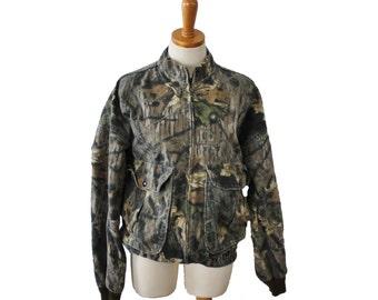Vintage 80s Mossy Oak Camouflage Jacket // Men Medium // made in America, hunting gear