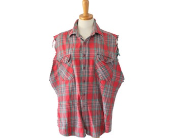 Vintage 80s Cut Off Sleeveless Flannel Shirt // Men L Red Plaid // Punk Grunge, Andover Trail