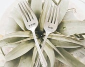Personalized, Hand Stamped Vintage Wedding Cake Forks - Customized with the Names & Wedding Date of the Bride and Groom