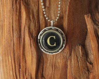 The Letter C Vintage Typewriter Key Necklace Pendant