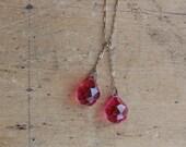 Vintage Art Deco pink briolette crystal lariat necklace