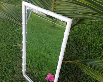 "FAUX BAMBOO MIRROR / 45"" Tall Hollywood Regency Faux Bamboo Wood Mirror / Palm Beach Style at Retro Daisy Girl"