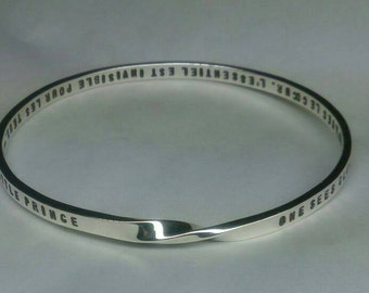 PERSONALIZED MOBIUS science meets art. 4mm x 2mm strip Hand Stamped all around bangle with any text and numbers. Any size. Made to order.