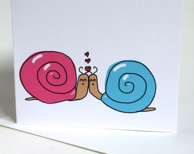 Snail Valentines Day, Snail Anniversary Card, snail doodle, made on recycled paper, comes with envelope and seal