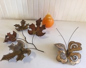 MODERN METAL ART, 1970s, Leaves, Butterfly, Mid Century Modern at Modern Logic
