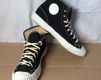 deadstock 1950's Sears & Roebuck Jeepers Converse Canvas Shoes Basketball Hi Top Sneakers kicks size 8.5 Black White NOS