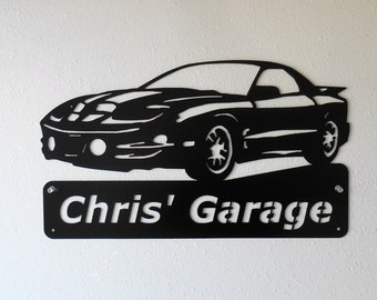 Personalized 1998 2002 Pontiac Firebird Trans Am Man Cave Metal Sign Garage Art Satin Black