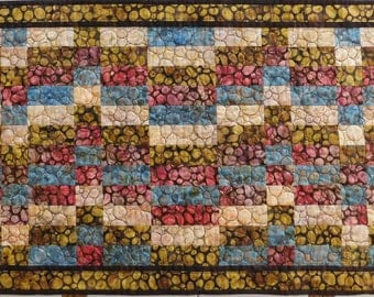 Batik Pebble Quilted Table runner brown red cream blue