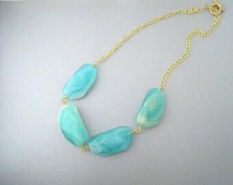 Light Blue Statement Necklace, Blue Bead Necklace, Chunky Blue Necklace