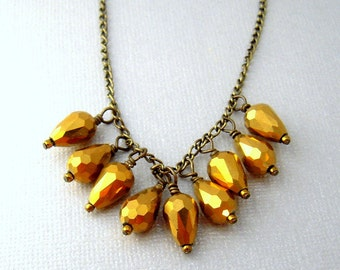 Gold Bead Necklace, Gold Statement Necklace, Sparkly Gold Necklace, Gold Bib Necklace, Teardrop Glass Bead Necklace, Necklaces for Women