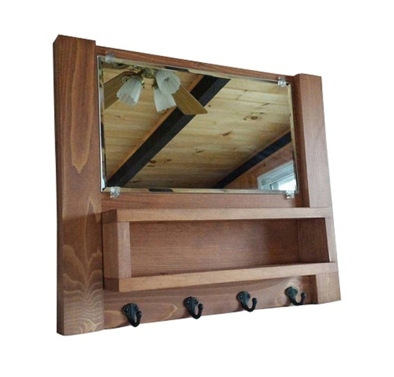Enrtyway Mirror With Hooks Mail Organizer Entryway