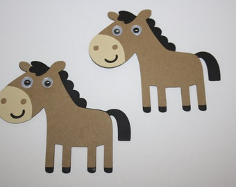 Set of 6 - Horse with Moustache Party Decor and Scrapbooking Embellishments