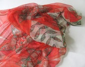 Red poppy flowers chiffon silk scarf - Bright red flowers and pine green leaves ornaments