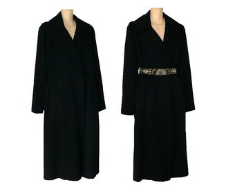 L/XL/Tall Vintage 1940's Winter Coat, Black Women's Wool Coat Large X-Large Tall