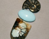 7 Dwarfs Turquoise, Blue Moon turquoise and pyritized ammonite fossil cabochon set