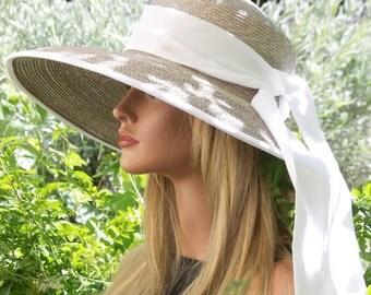 Wide Brim Hat, Audrey Hepburn Hat, Wedding hat, Women's Taupe & White Formal Hat, Ascot Hat, Breakfast at Tiffany's Hat, Summer straw hat