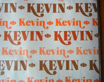 Vintage Gift Wrapping Paper KEVIN Unused Unopened 1982 Set of 2 full sheets Personally Yours orange tan brown