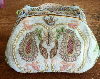 Romantic and Stunning Bridal White Paisley French Beaded Hand Bag Beaded in France 1940s Something old for Your Wedding
