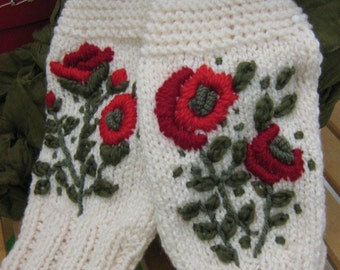 Knitting - Embroidery gloves