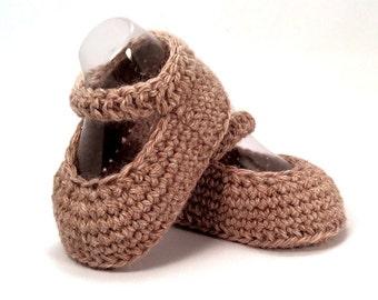 Brown Mary Janes, Crochet Baby Shoes, Baby Girl Shoes, Baby Mary Janes, Knitted Baby Shoes, Merino Wool, Baby Gift, Warm and Woolly on ETSY