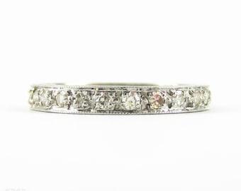 Art Deco Diamond Eternity Ring in Platinum. Bead Set Diamond Full Hoop Wedding Ring with Engraved Sides. Size M.5 / 6.5.