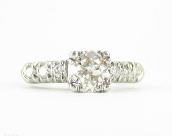 Art Deco Engagement Ring, Old European Cut Diamond in Classic Platinum Fishtail Triple Claw Prong Style Setting, 0.90 ctw, Circa 1930s.