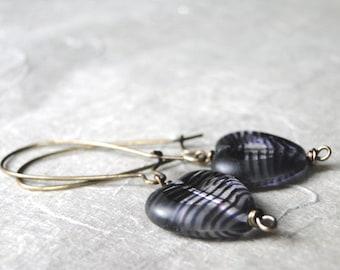 LAST CALL SALE Jewelry, Heart Me Earrings, Lavender Earrings, Dangle Heart Earrings, Brass, Hoops, Vintage Look, Purple, Accessories