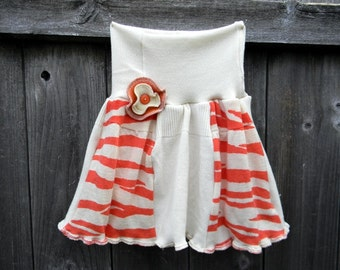 Upcycled Merino Wool Hip Skirtie Soaker Cover Diaper Cover With Added Doubler Salmon Pink/ White  LARGE 12-24M Kidsgogreen