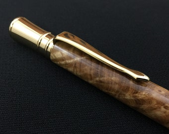 Black Ash Burl Pen with Gold Hardware