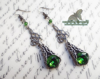 Victorian Fantasy earrings --- CLAIRE --- Aged silver filigree Celtic earrings with swarovski crystals