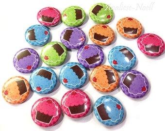 """Cupcake Magnet, 1"""" Button Magnet, Cupcake, Cupcake Party Favors, Cupcake Birthday, Cupcake Gift, Cupcake Decor, Office Magnet, Locker Magnet"""