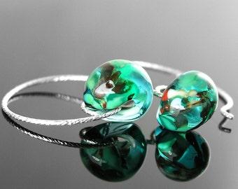 Dainty Emerald Sea Green Drop Earrings Sterling Silver Hoop Earrings Small Teardrop Earrings Handmade Lampwork Earrings Hoops Glass Jewelry