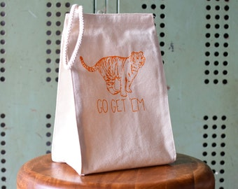 Lunch Box - Lunch Bag - Lunch Tote - Reusable Lunch Bag - Screen Printed Lunch Bag - Eco Friendly - Canvas Tote Bag - Lunch Sack - Tiger