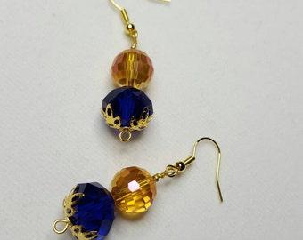 Cobalt, Gold and Orange Earrings