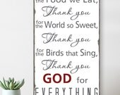 READY to SHIP - Thank you for the food we eat  Blessing - Typography Word Art Sign