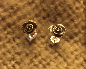 Rose Studs in sterling silver
