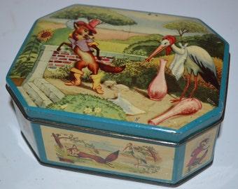 Vintage fox and stork toffee tin - metal box - Renard - hinged lid - storage candy