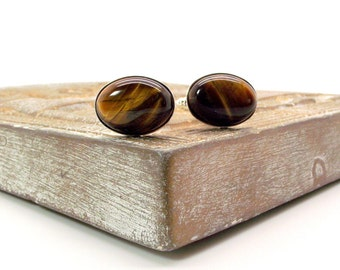 Brown Tigers Eye Cufflinks - Brown Cufflinks - Brown Oval Cufflinks