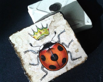 LADYBUG with crown -  Vintage Style  -  One Handpainted magnet