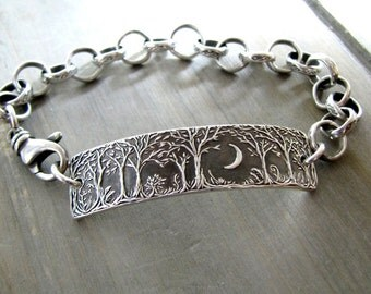 Forest Moon Bracelet No. 3, Fine Silver Jewelry, Handmade in Recycled Silver From Original Carving, by SilverWishes