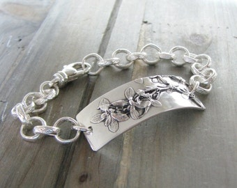 Cherish Bracelet, Fine Silver, Natural Plant Reproduction, Artisan Original and Exclusive by SilverWishes, Recycled Silver