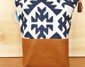 Vintage Leather Diaper Zip Travel Pouch Navy White Print Chic Baby Shower Gift READY TO SHIP