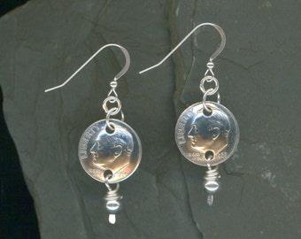 50th Anniversary Gift 1966 Dime Earrings 50th Birthday Gift 50th Anniversary Gift Beaded Coin Jewelry 1966 Dimes