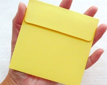 """Small Square Envelopes (10pcs / 10cm x 10cm / 3.93"""" x 3.93"""" / Yellow) Thank You Notes Party Supplies Invitation Card Greeting Card S436"""