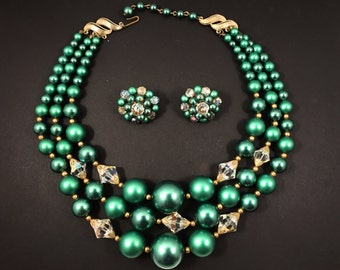 Faux Pearl Three Strand Choker Necklace and Earrings, Vintage Jewelry Set, Vintage Necklace, Green Necklace, Green Choker, Clip On Earrings